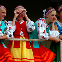 Ukranian girls with traditional clothes.