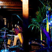 St. Martin St. Maarten -- February 2011 -- A band plays at the Blue Martini in the Grand Case neighborhood on the Caribbean island of St. Martin / St. Maarten, which is split between France and the Netherlands.  (Photo by Chip Litherland)