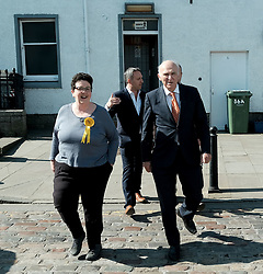 In front of the iconic Forth Rail Bridge, Liberal Democrat leader Vince Cable, former Change UK lead candidate David MacDonald, Lib Dem European election candidates and party activists unveiled a new election poster calling on Remain voters to unite to stop Brexit.<br /> <br /> Pictured: EU candidate Sheila Ritchie, Sir Vince Cable MP and Alex Cole-Hamilton MSP<br /> <br /> Alex Todd   Edinburgh Elite media
