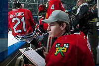 KELOWNA, CANADA - APRIL 8: Shane Farkas #1 of the Portland Winterhawks sits on the bench keeping stats against the Kelowna Rockets on April 8, 2017 at Prospera Place in Kelowna, British Columbia, Canada.  (Photo by Marissa Baecker/Shoot the Breeze)  *** Local Caption ***