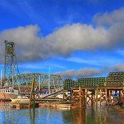 A view of Memorial Bridge from private dock area in Kittery Maine