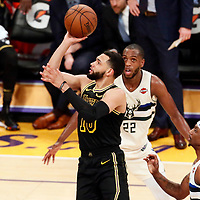 30 March 2018: Los Angeles Lakers guard Tyler Ennis (10) takes a jump shot during the Milwaukee Bucks 124-122 victory over the LA Lakers, at the Staples Center, Los Angeles, California, USA.