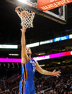 Feb. 4, 2011; Phoenix, AZ, USA; Oklahoma City Thunder center Nenad Kristic (12) reacts on the court against the Phoenix Suns at the US Airways Center. The Thunder defeated the Suns 111-107. Mandatory Credit: Jennifer Stewart-US PRESSWIRE