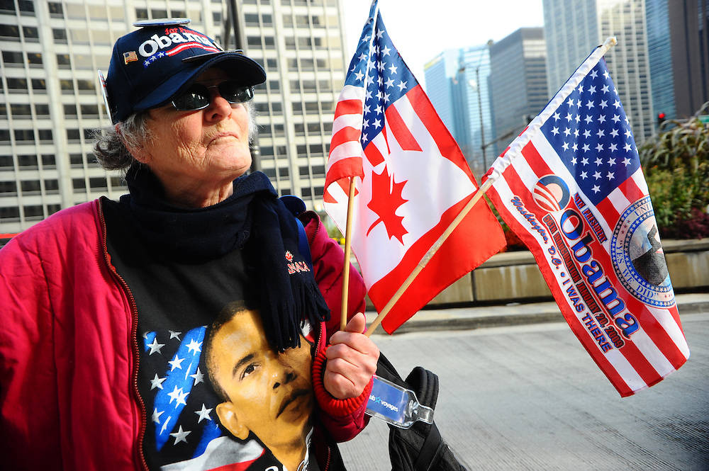 Lucille Gilbert, of Quebec City, Quebec travelled to Chicago on election night to show her support for President Barack Obama. Gilbert says she was at the President's inauguration in 2010, and at the celebration when he won at Grant Park in 2008. She also says that when she shows her support with the Canadian-American flag, Americans treat her like Canadian musical celebrity Celine Dion.
