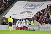 England Forward Daniel Sturridge celebrates his goal with England players 1-0 during the FIFA World Cup Qualifier group stage match between England and Scotland at Wembley Stadium, London, England on 11 November 2016. Photo by Phil Duncan.