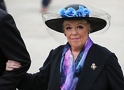 © Licensed to London News Pictures . 18/03/2016 . Manchester , UK . Julie Goodyear arrives at the service. Television stars and members of the public attend the funeral of Coronation Street creator Tony Warren at Manchester Cathedral . Photo credit : Joel Goodman/LNP