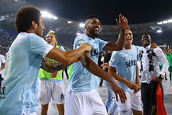 August 13, 2017 - Rome, Italy - Felipe Anderson and Fortuna Wallace of Lazio after winning the Italian SuperCup TIM football match Juventus vs Lazio on August 13, 2017 at the Olympic stadium in Rome. (Credit Image: © Matteo Ciambelli/NurPhoto via ZUMA Press)