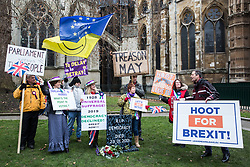 London, UK. 29th January, 2019. Anti-Brexit protesters outside Parliament on the day of votes in the House of Commons on amendments to the Prime Minister's final Brexit withdrawal agreement which could determine the content of the next stage of negotiations with the European Union.