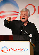 Senator Edward Kennedy, D - MA, gestures while speaking in support of Barack Obama in an appearance at The University of Texas - Pan American on Wednesday afternoon, February 20 in Edinburg, Texas.  Kennedy appeared on the same afternoon that Hillary Clinton was campaigning nearby in Hidalgo.