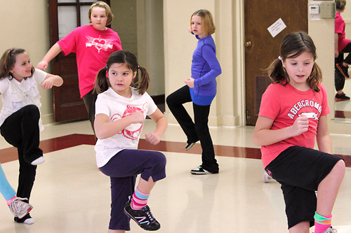 (from left, front row) Emma Hatfield, 6; Ryley Lamb, 8 and Harley Lamb, 10 during the first of six hip-hop dance classes at the Carnegie Center in Miamisburg , Saturday, January 28, 2012.