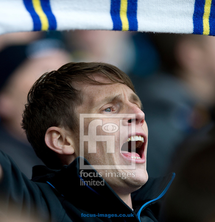 A Leeds United fan sings before the start of the Sky Bet Championship match at Elland Road, Leeds<br /> Picture by Russell Hart/Focus Images Ltd 07791 688 420<br /> 20/11/2016