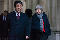 London, UK. 10th January, 2019. Prime Minister Theresa May and Japanese Prime Minister Shinzo Abe arrive at 10 Downing Street for talks. Subjects to be discussed will include the UK's latest arrangements for withdrawal from the European Union.