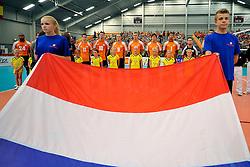 05-06-2011 VOLLEYBAL: EUROPEAN LEAGUE NETHERLANDS - GREECE: LEEK<br /> Dutch flag during national anthem<br /> ©2011-FotoHoogendoorn.nl