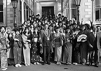 The Lord Mayor of Dublin Bertie Ahern greeting 51 Japanese Students in the Mansion House, Dublin, 02/03/1987 (Part of the Independent Newspapers Ireland/NLI Collection).