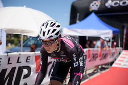 Eugenia Bujak starts Stage 5 of the Giro Rosa - a 12.7 km individual time trial, starting and finishing in Sant'Elpido A Mare on July 4, 2017, in Fermo, Italy. (Photo by Sean Robinson/Velofocus.com)