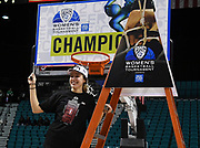 Stanford Cardinal forward Alanna Smith (11) smiles after cutting down a piece of the net from the championship game of the Pac-12 Conference women's basketball tournament Sunday, Mar. 10, 2019 in Las Vegas.  Stanford defeated Oregon 64-57. (Gerome Wright/Image of Sport)