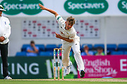 Sam Curran of Surrey bowling during the Specsavers County Champ Div 1 match between Surrey County Cricket Club and Hampshire County Cricket Club at the Kia Oval, Kennington, United Kingdom on 18 August 2019.