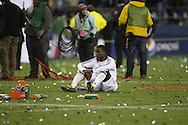 SEATTLE - NOVEMBER 22:  Edson Buddle #14 of the Los Angeles Galaxy sits on the field after their loss.. Real Salt Lake defeats Los Angeles Galaxy in the MLS Cup final at Qwest Field on November 22, 2009 in Seattle, Washington. (Photo by Tom Hauck)