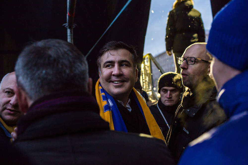 KIEV, UKRAINE - DECEMBER 7: Mikheil Saakashvili, the former president of Georgia, waits back stage just before speaking to anti-government protesters on Independence Square on December 7, 2013 in Kiev, Ukraine. Thousands of people have been protesting against the government since a decision by Ukrainian president Viktor Yanukovych to suspend a trade and partnership agreement with the European Union in favor of incentives from Russia. (Photo by Brendan Hoffman/Getty Images) *** Local Caption *** Mikheil Saakashvili