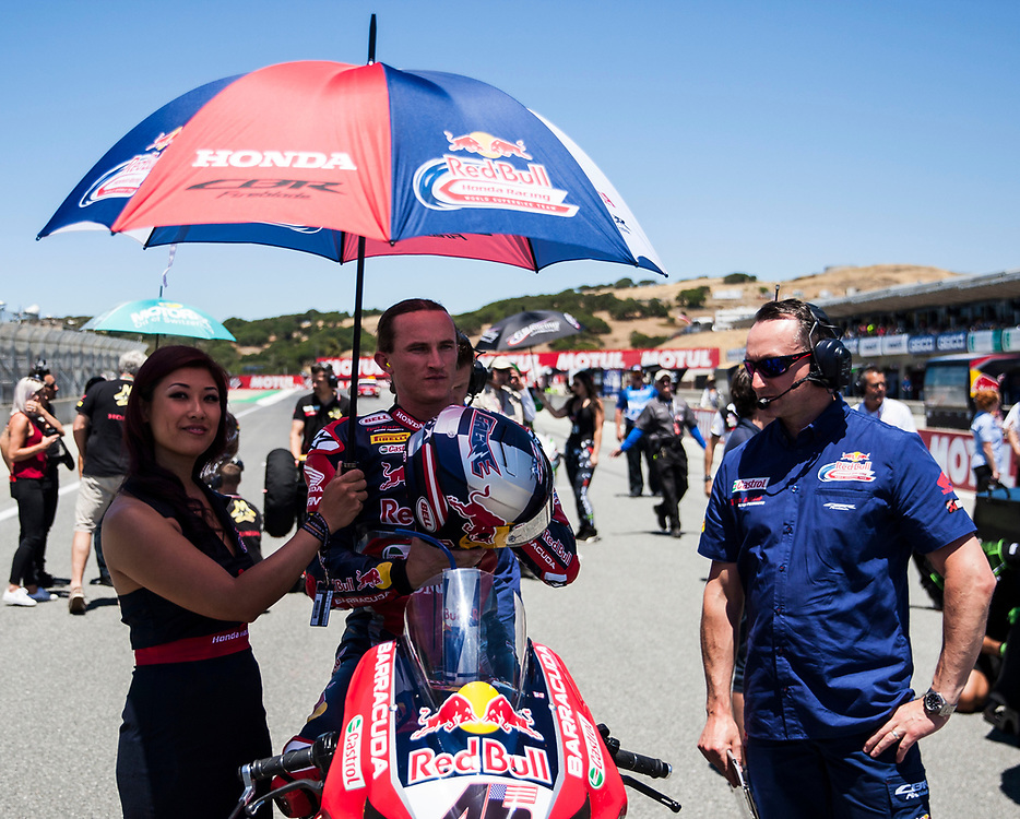 Jun 23  2018  Monterey, CA, U.S.A # 45 Jake Gagne on the grid during the Motul FIM World Superbike Race # 1 at Weathertech Raceway Laguna Seca  Monterey, CA  Thurman James / CSM