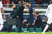 Laurent Blanc ( Entraineur PSG) et Edinson Cavani (PSG)