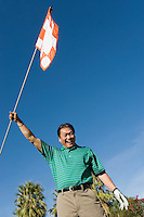 Golfer Waving Golf Flag