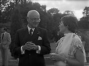 06/09/1978<br /> 09/06/1978<br /> 06 September 1978<br /> Reception for Mr. Sean Donlon, New Irish Ambassador to the United States, at the U.S. Embassy Residence, Phoenix Park, Dublin. Ambassador William V. Shannon on left.