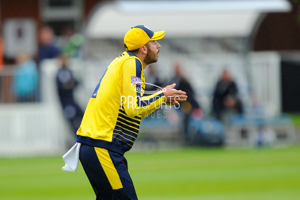 Hampshire's James Vince catches Somerset's Peter Trego off the bowling of Hampshire's Darren Sammy during the NatWest T20 Blast South Group match between Somerset County Cricket Club and Hampshire County Cricket Club at the Cooper Associates County Ground, Taunton, United Kingdom on 19 June 2016. Photo by Graham Hunt.
