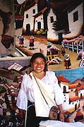 ECUADOR, MARKETS, CRAFTS Otavalo market, traditional textiles