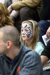 21 February 2015:  face paint on a young fan during an NCAA men's division 3 CCIW basketball game between the Elmhurst Bluejays and the Illinois Wesleyan Titans in Shirk Center, Bloomington IL