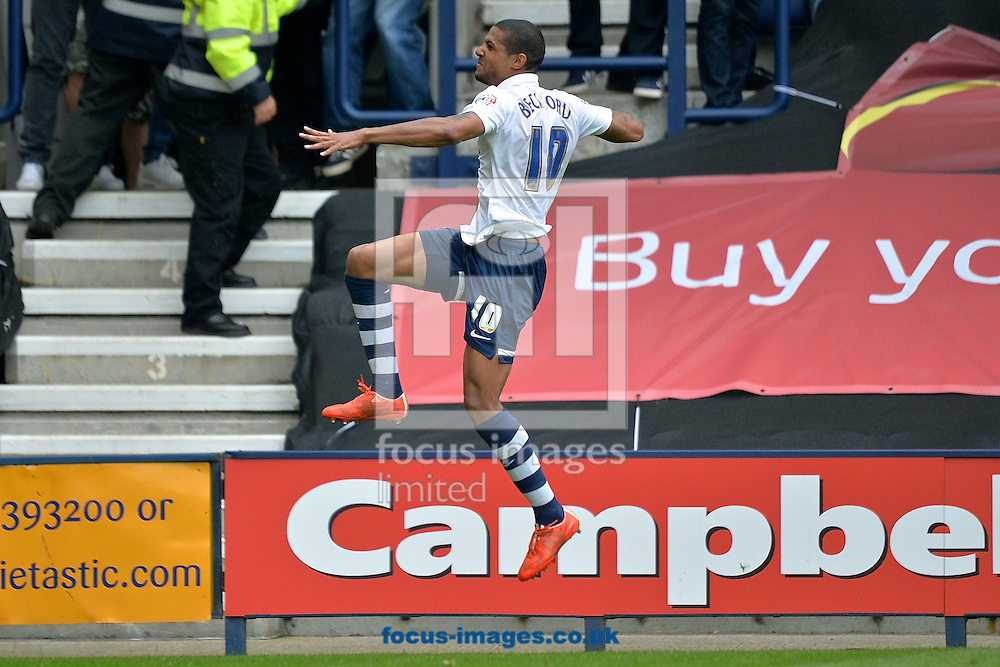 Jermaine Beckford of Preston North End celebrates scoring their first goal to make it Preston North End 1 Chesterfield 0 during the Sky Bet League 1 playoff match at Deepdale, Preston<br /> Picture by Ian Wadkins/Focus Images Ltd +44 7877 568959<br /> 10/05/2015