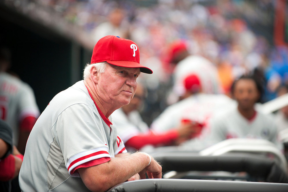 NEW YORK - JULY 16: Charlie Manuel #41 Manager of the Philadelphia Phillies looks on during the game against the New York Mets at Citi Field on July 16, 2011 in the Queens borough of Manhattan. (Photo by Rob Tringali) *** Local Caption *** Charlie Manuel