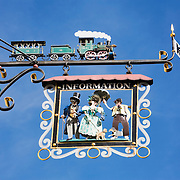 Tafeen, or hanging sign, above tourist information office on the Hauptgasse, or main street, Appenzell, Switzerland<br />