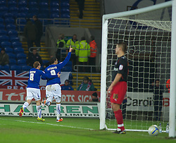 CARDIFF, WALES - Tuesday, February 1, 2011: Cardiff City's Jay Bothroyd celebrates scoring the equalising goal to make it 1-1 against Reading during the Football League Championship match at the Cardiff City Stadium. (Photo by Gareth Davies/Propaganda)