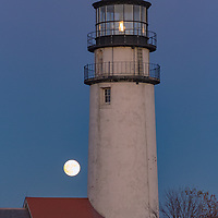 Highland Lighthouse and full moon, Cape Cod National Seashore