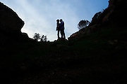 Yvonne and Brandon Smith pose for portrats during their Engagement Session at Glen Park in San Francisco, California, on December 13, 2014. (Stan Olszewski/SOSKIphoto)