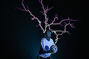 "CHANGLE, CHINA - JUNE 12: (CHINA OUT) <br /> <br /> ""Lightning Football Show""<br /> <br /> Wang Zengxiang, a teenager in Fujian, plays a ""lightning football show"" with his teamates by using tesla coil and wearing a special metal cloth at Heshang county on June 12, 2014 in Changle, Fujian province of China. Tesla coil is an electrical resonant transformer circuit, which is used to produce high-voltage, low-current, high frequency alternating-current electricity.<br /> ©Exclusivepix"
