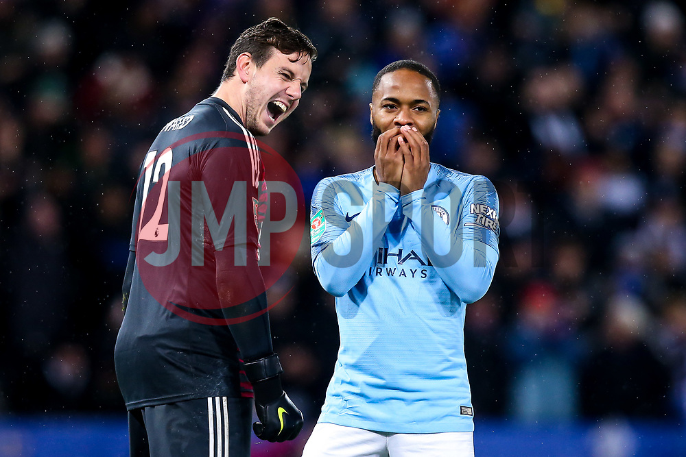 Raheem Sterling of Manchester City cuts a dejected figure after missing his penalty while Danny Ward of Leicester City celebrates - Mandatory by-line: Robbie Stephenson/JMP - 18/12/2018 - FOOTBALL - King Power Stadium - Leicester, England - Leicester City v Manchester City - Carabao Cup Quarter Finals