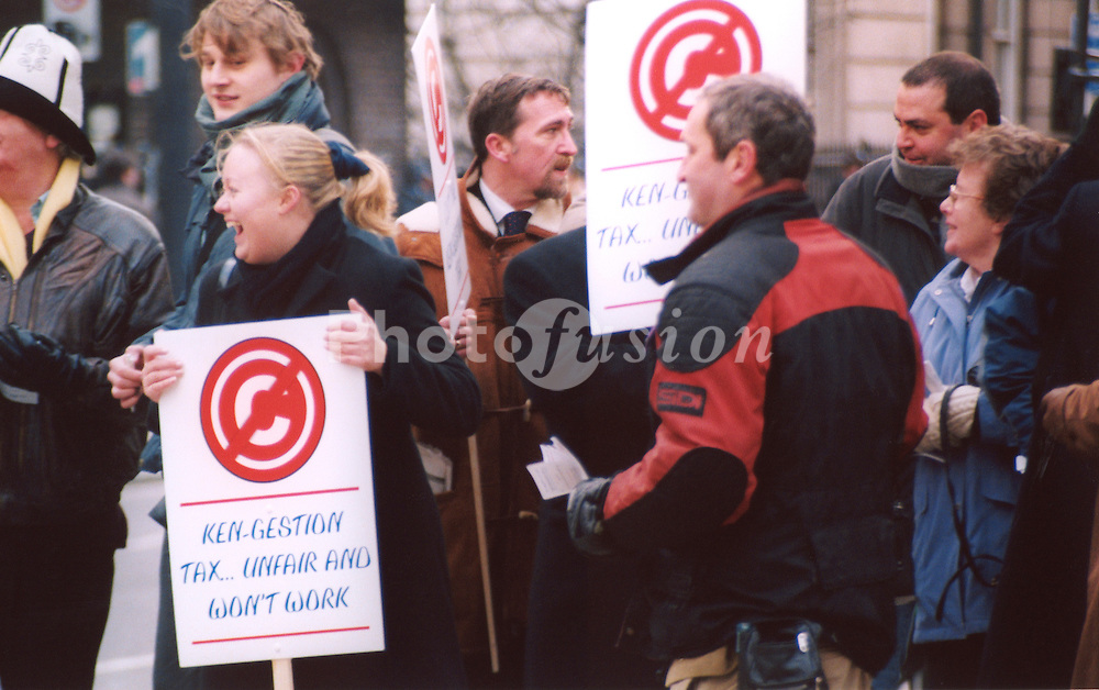 Anti congestion charging in London demonstration on first day; 17 February 2003; UK