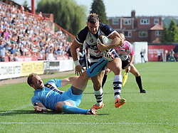 Bristol Winger Andy Short scores a try - Photo mandatory by-line: Joe Meredith/JMP - Mobile: 07966 386802 - 7/09/14 - SPORT - RUGBY - Bristol - Ashton Gate - Bristol Rugby v Worcester Warriors - The Rugby Championship