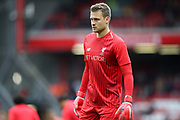 Liverpool goalkeeper Simon Mignolet (22)warming up during the Premier League match between Liverpool and Southampton at Anfield, Liverpool, England on 22 September 2018.