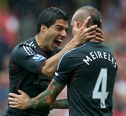 20.08.2011, Emirates Stadium, London, ENG, PL, FC Arsenal vs Liverpool FC, im Bild Liverpool's Luis Alberto Suarez Diaz celebrates scoring the second goal against Arsenal with team-mate Raul Meireles during the Premiership match at the Emirates Stadium, EXPA Pictures © 2011, PhotoCredit: EXPA/ Propaganda/ D. Rawcliffe *** ATTENTION *** UK OUT!