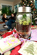 Patty and Jerry Woodbury with a terrarium, surrounded by other things they made in an art class, photographed at their home in Kettering, Saturday, December 22, 2012.