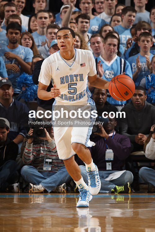 CHAPEL HILL, NC - JANUARY 19: Marcus Paige #5 of the North Carolina Tar Heels dribbles the ball during a game against the Maryland Terrapins on January 19, 2013 at the Dean E. Smith Center in Chapel Hill, North Carolina. North Carolina won 52-62. (Photo by Peyton Williams/UNC/Getty Images) *** Local Caption *** Marcus Paige