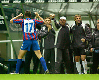 Photo. Jed Wee<br /> Newcastle United v Partizan Belgrade, European Champions League Qualifier, St. James' Park, Newcastle. 27/08/2003.<br /> Partizan Belgrade's Ivica Iliev goes ballistic in front of his bench after scoring.