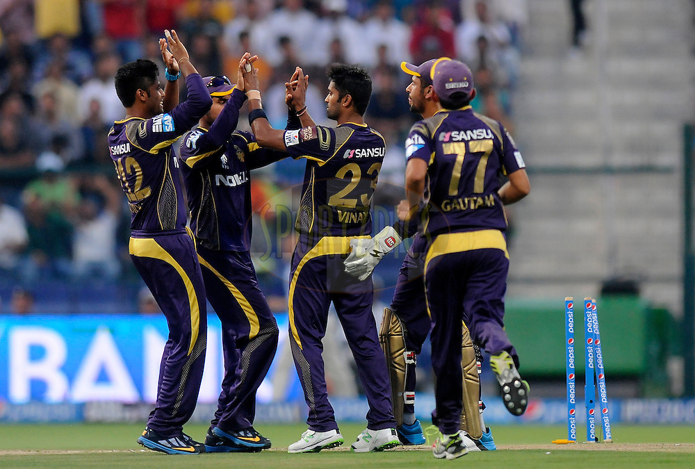 Vinay Kumar of the Kolkata Knight Riders celebrates the wicket of Karun Nair of the Rajatshan Royals during match 19 of the Pepsi Indian Premier League 2014 Season between The Kolkata Knight Riders and the Rajasthan Royals held at the Sheikh Zayed Stadium, Abu Dhabi, United Arab Emirates on the 29th April 2014<br /> <br /> Photo by Pal Pillai / IPL / SPORTZPICS