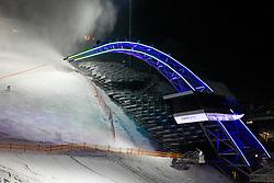 18.01.2013, Schladming, AUT, FIS Weltmeisterschaften Ski Alpin, Schladming 2013, Vorberichte, im Bild das voestalpine skygate mit neuer, durchgängiger Beleuchtung am 18.01.2013 // the lightened voestalpine skygate on 2013/01/18, preview to the FIS Alpine World Ski Championships 2013 at Schladming, Austria on 2013/01/18. EXPA Pictures © 2013, PhotoCredit: EXPA/ Martin Huber