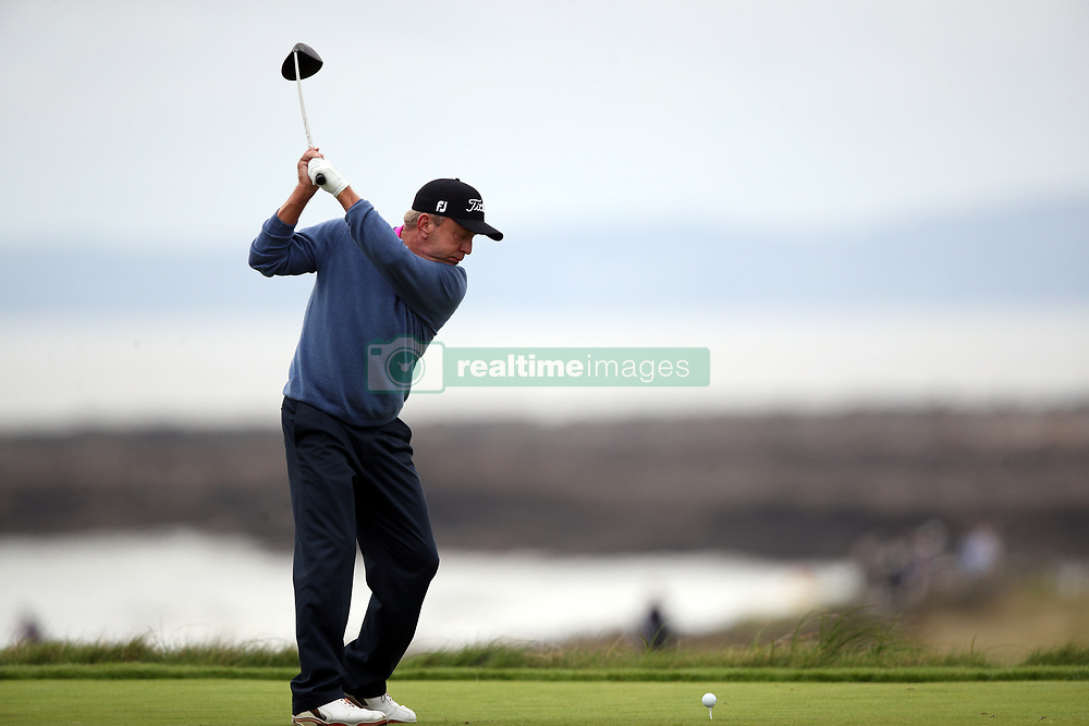 USA's Billy Mayfair tees off on the 3rd during day three of the Senior Open at Royal Porthcawl Golf Club.