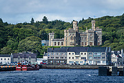 Victorian era Lews Castle, in Stornoway, Isle of Lewis, Scotland, United Kingdom, Europe. Lews Castle was built in 1844-51 as a country house for Sir James Matheson who had bought the whole island a few years previously with his fortune from the Chinese Opium trade. In 1918, the Lewis estate including the castle was bought by industrialist Lord Leverhulme from the Matheson family. He gave the castle to the people of Stornoway parish in 1923. During World War II the Castle was taken over as accommodation for air and ground crew of 700 Naval Air Squadron, who operated a detachment of six Supermarine Walrus aircraft from a slipway at Cuddy Point in the Grounds. The base was referred to as HMS Mentor. After the war, the Castle was also used for accommodation for students of Lews Castle College in the 1950s. Today the building is owned by the local council, Comhairle nan Eilean Siar, and is protected as a category A listed building. Lews Castle was awarded £4.6 million by the Heritage Lottery Fund, on 22 November 2011, to enable it to be converted into a bilingual museum and cultural centre. The main part of the Castle is now part of Natural Retreats.