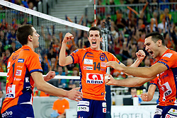 Andrej Flajs of ACH, Milan Rasic of ACH and Alan Komel of ACH celebrate during volleyball match between ACH Volley LJUBLJANA and Budvanska Rivijera BUDVA.of 2012 CEV Volleyball Champions League, Men, League Round in Pool F, 2nd Leg, on October 26, 2011, in Arena Stozice, Ljubljana, Slovenia.  ACH Volley defeated Budvanska Rivijera 3-2. (Photo by Vid Ponikvar / Sportida)